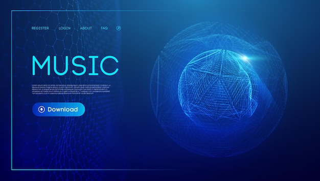Technologia fali muzycznej sfera wizualizacja cząstek dużych cząstek wektora matrycy korektor dla muzyki