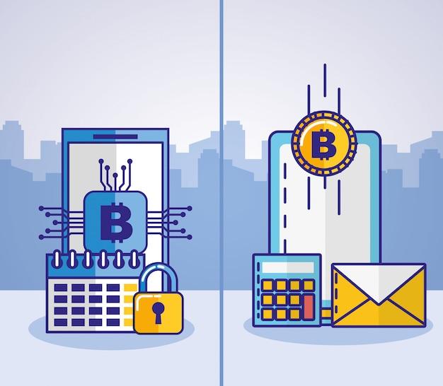 Technologia finansowa z ikoną smartfona