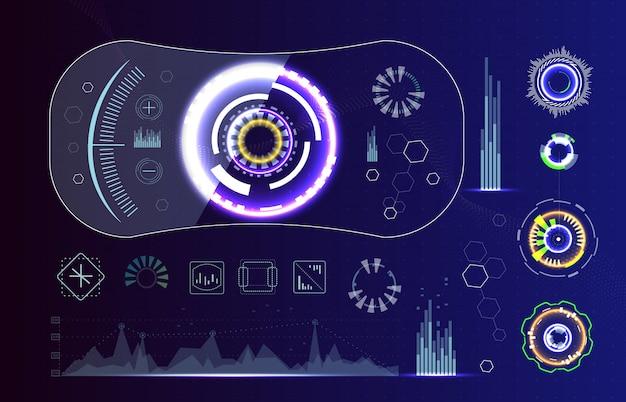 Technologia futurystyczny nowoczesny interfejs użytkownika kształty kół. elementy interfejsu streszczenie futurystyczny zestaw sci fi.
