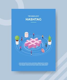 Technologia hash tag oznacza ludzi stojących wokół znacznika hash dla szablonu banera i ulotki
