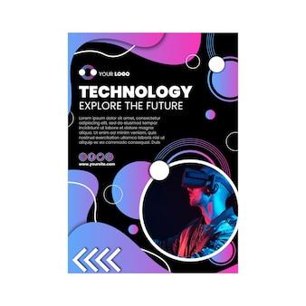Technologia i przyszła pionowa ulotka