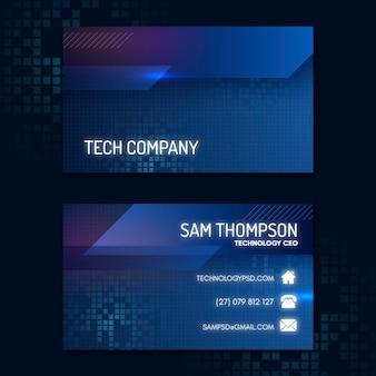 Technologia i przyszłe poziome wizytówki szablon