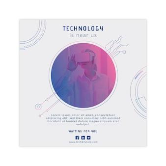 Technologia i przyszły kwadratowy szablon ulotki