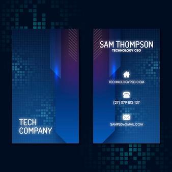 Technologia i przyszły pionowy szablon wizytówki