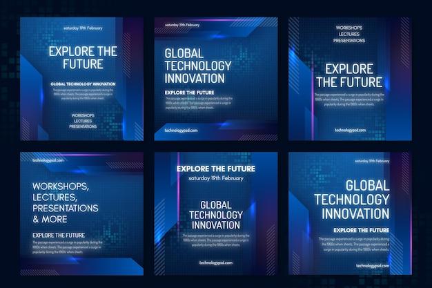 Technologia i przyszły szablon postu na instagramie