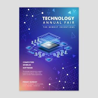 Technologia i przyszły szablon ulotki pionowej