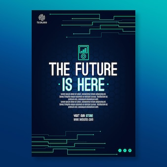 Technologia i przyszły szablon ulotki