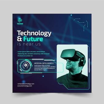 Technologia i szablon przyszłej ulotki kwadratowej