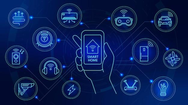 Technologia inteligentnego domu. połączone urządzenia z kontrolą aplikacji na smartfona. internet rzeczy system automatyzacji z cyfrowymi ikonami wektor koncepcji. ilustracja smartfona, inteligentna aplikacja bezpieczeństwa