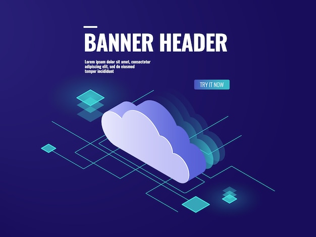 Technologia izometrycznego przechowywania danych w chmurze, serwerownia, baza danych i centrum danych