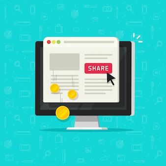 Technologia kliknięcia płatnego lub kosztu kliknięcia w przycisku udostępniania witryny internetowej komputera