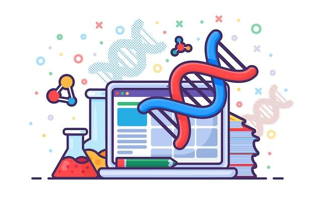 Technologia komputerowa dla wektora inżynierii genetycznej. laptop urządzenie elektroniczne dla cząsteczki dna inżyniera w laboratorium, sprzęcie laboratoryjnym, książce i kolbie do badań. nauka ilustracja kreskówka płaska