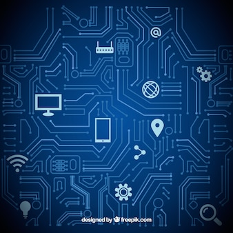 Technologia komputerowa icons vector set background