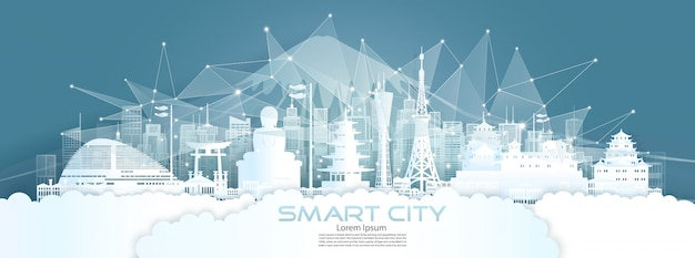 Technologia komunikacji bezprzewodowej sieci inteligentne miasto z architekturą w japonii.