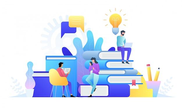 Technologia koncepcji edukacji online. e-booki, kursy internetowe i proces ukończenia szkoły. ilustracja w stylu płaskiej.