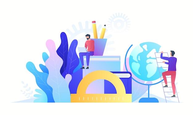 Technologia koncepcji edukacji online. e-booki, kursy internetowe i proces ukończenia szkoły. ilustracja w stylu.