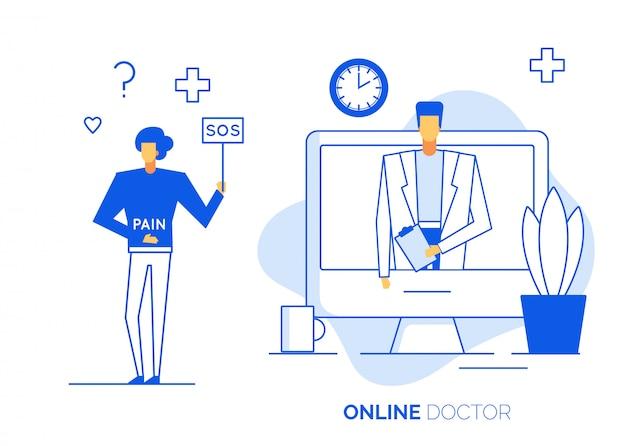 Technologia konsultacji lekarza online na laptopie