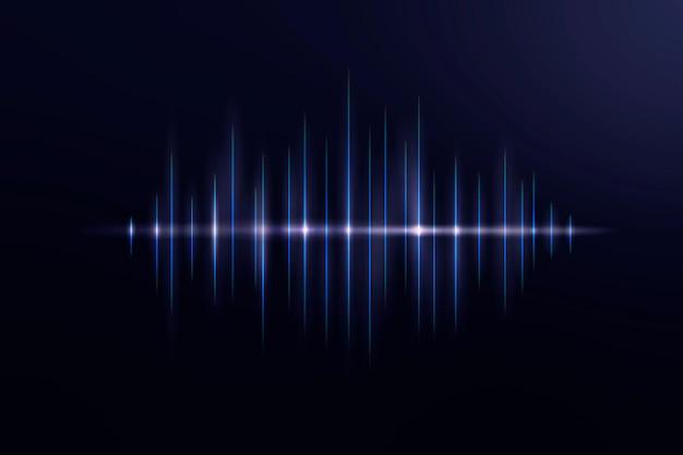 Technologia korektora muzycznego czarne tło wektor z niebieską cyfrową falą dźwiękową