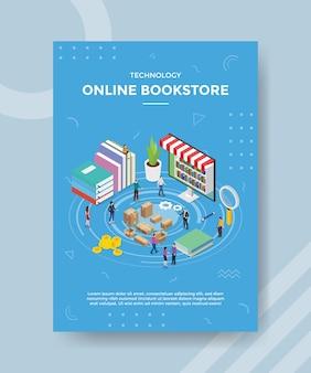 Technologia księgarni internetowej ludzie stojący w pobliżu laptopa z książką na szablon banera i ulotki