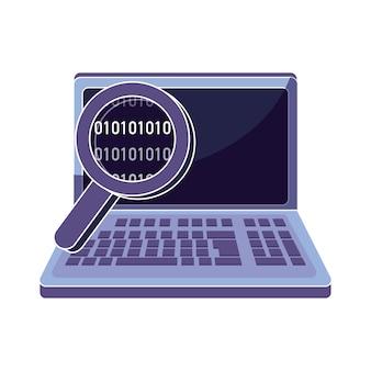 Technologia laptopa z lupą i kodem danych