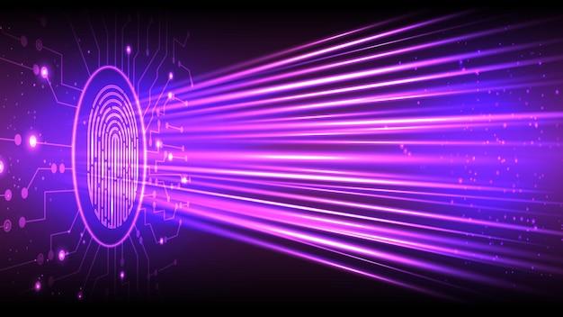 Technologia Linii Papilarnych Tło Wektor. Identyfikacja Cyfrowa. Eps 10 Premium Wektorów