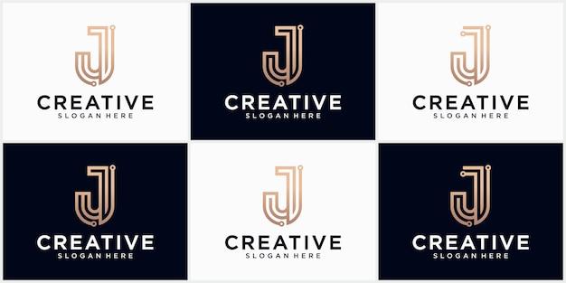 Technologia litery j logo w kolorze złotym piękny projekt logo dla luksusowego brandingu korporacyjnego