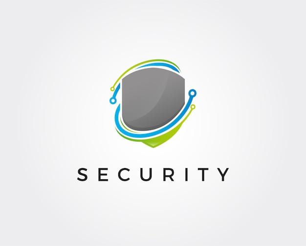 Technologia Logo Bezpieczeństwa Premium Wektorów