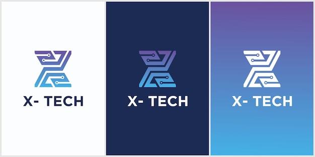 Technologia logo pierwszej litery x symbol połączonego koła