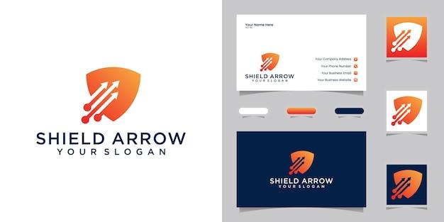 Technologia logo tarczy z szablonem projektu trzech strzałek i wizytówką