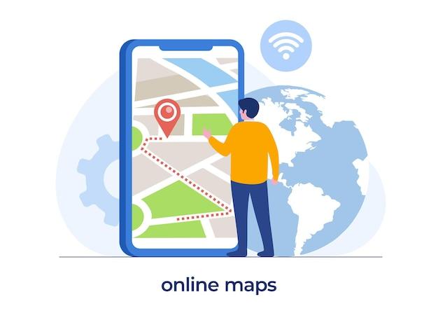 Technologia map online, człowiek ze smartfonem, mapy cyfrowe, nawigacja i kierunek, transparent wektor ilustracja płaski