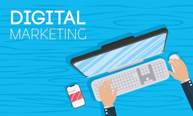Technologia marketingu cyfrowego z laptopem
