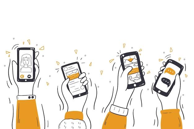 Technologia, media, koncepcja komunikacji bezprzewodowej.