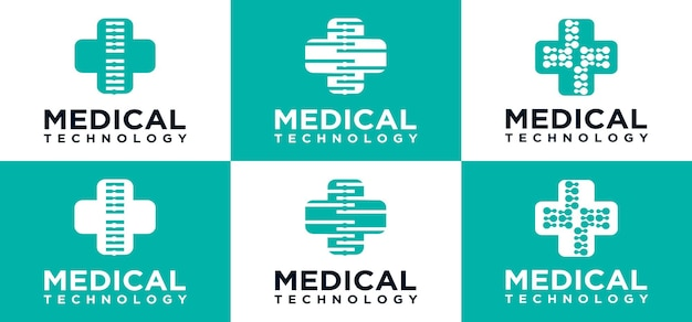 Technologia medyczna logo technologia krzyż ikona logo szablon projektu kreatywny symbol krzyża dla medycyny