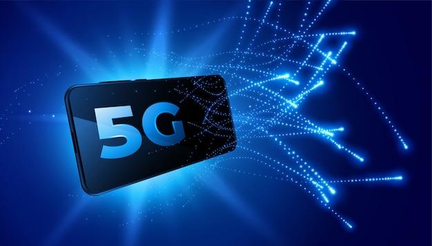 Technologia mobilna sieci telekomunikacyjnej piątej generacji tło