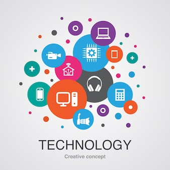 Technologia modna koncepcja projektowania bańki interfejsu użytkownika z prostych ikon. zawiera takie elementy jak inteligentny dom, aparat fotograficzny, tablet, smartfon i inne
