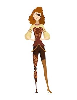 Technologia mody steampunk, vintage ilustracja fantasy z kobietą kreskówki w stroju steampunk. steampunkowy wynalazek. postać ludzi z elementem mechanicznym.