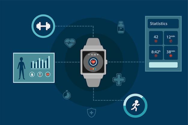 Technologia monitorowania zdrowia infografiki smartwatch