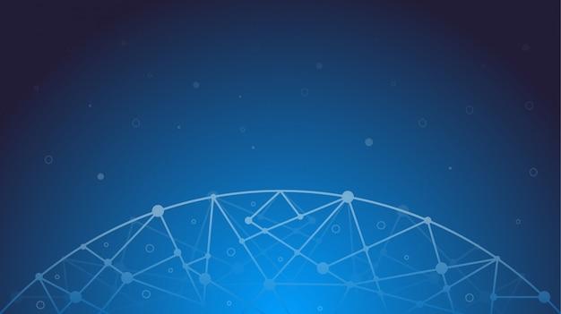 Technologia nowoczesne streszczenie łączenie kropek i linii na kolorowym tle gradientu.