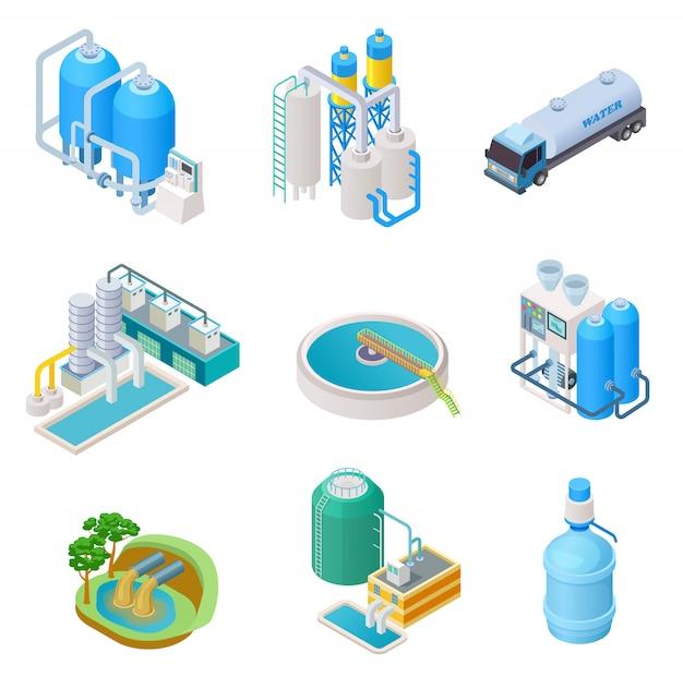 Technologia oczyszczania wody. izometryczny system oczyszczania wody przemysłowej, wektor separator ścieków na białym tle zestaw