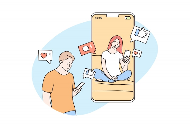Technologia, online, komunikacja, media społecznościowe, koncepcja kwarantanny