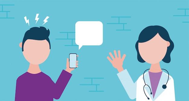 Technologia online zdrowia z mężczyzną za pomocą smartfona i lekarza