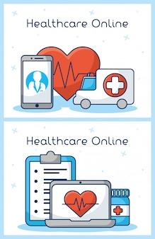 Technologia opieki zdrowotnej on-line z ustawionymi ikonami