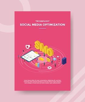 Technologia optymalizacji mediów społecznościowych ludzie stojący serwer tablicy z wykresami tekst smo dla szablonu banera i ulotki