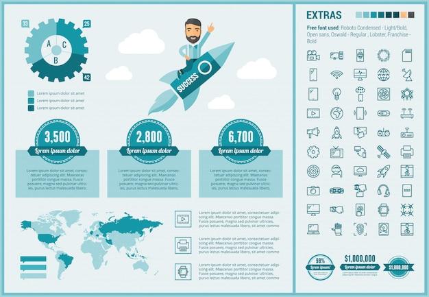 Technologia płaska konstrukcja infographic szablon i ikony ustaw