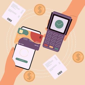 Technologia płatności cyfrowych koncepcja bezpiecznych płatności online system płatności zbliżeniowych