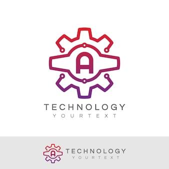 Technologia początkowa litera a projekt logo