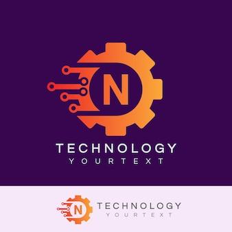 Technologia początkowa litera n logo projektu