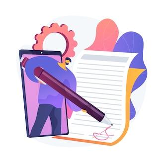 Technologia podpisu elektronicznego. walidacja operacji, podpis cyfrowy, weryfikacja dokumentów elektronicznych. wirtualne potwierdzenie umowy. ilustracja wektorowa na białym tle koncepcja metafora