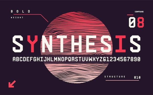 Technologia pogrubione wielkie litery i cyfry san serif