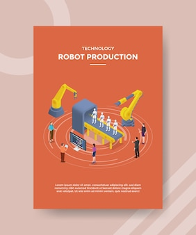 Technologia produkcji robotów ludzi stojących wokół rozwoju robota maszynowego dla szablonu ulotki